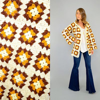 60's GRANNY SQUARE Sweater Cardigan