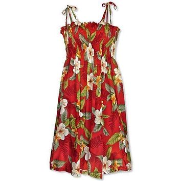 makaha red hawaiian moonkiss dress