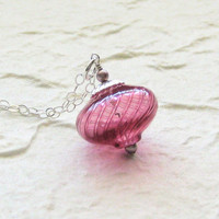 Murano Blown Glass Pink Silver Necklace by JKCJewels on Etsy