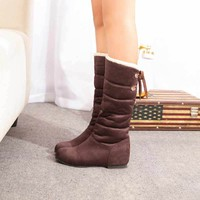 Women Snow Boots Winter Shoes 2017 Solid Color Plush Lace Up Keep Warm Boots Shoes for Woman