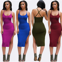 Sleeveless Cross Strappy Back Side Slit Bodycon Midi Dress