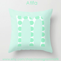 """Monogram Personalized Custom Pillow Cover """"Atifa"""" 16"""" x 16"""" Couch Art Bedroom Decor Initials Name Letter Mint Chrysalis Green Polka Dots"""