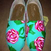 Lilly Pulitzer Painted Toms  by SweetHeartShoes on Etsy