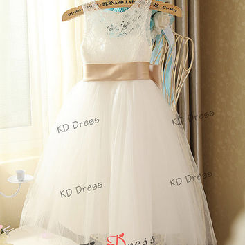 On Special Ivory Lace Keyhole Tulle Flower Girl Dress Children Birthday Party Dress Kids Dress with Champagne Sash/Bow(Z1022)