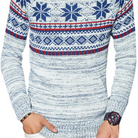 Floral Patterned Print Long Sleeve Knit Sweater