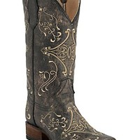 Corral Circle G Women's Vintage Black w/Cream Embroidery Square Toe Western Boots
