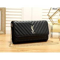 YSL tide brand female plaid chain bag shoulder bag black