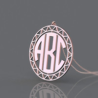 Personalized fashion monogram necklace plated in rose gold 3 initial personalized necklace