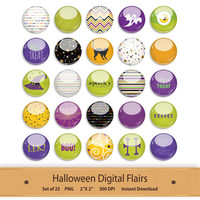 Halloween Digital Flairs Button Clipart Stickers Planner Scrapbooking Elements Printable Graphics Badge Witch Ghost Pumpkin Spooky Clip Art