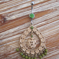 Belly Button Ring - Body Jewelry - Gold Dangly Charm with Green Beads With Green Gem Belly Button Ring