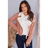 Harvest Season Faux Suede Jacket (Mauve)