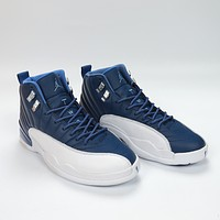 "Vip Air Jordan 12, 130690-404 ""Indigo"" washed blue AJ12 Jordan 12 generation are the original box Head skin true carbon plate right version to market the highest version"