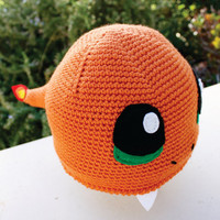 Charmander with Fire Flame Tail Inspired Hat: Pokemon -ish  Kawaii Handmade Crochet Japanese Pocket Monster Anime Beanie Hat