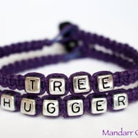 CLEARANCE, Tree Hugger Bracelets in Royal Purple, Silver Tone Block Letter Beads, Eco-Friendly Gift for Her - Black Friday Cyber Monday SALE