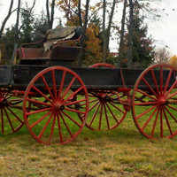 Large Red and Black Wagon - Primitive Buck Board