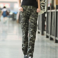 2015 Winter Outdoor Womens Casual Loose Camouflage military multi-pocket Cargo pants  Army Green Cotton Sport Jogging Trousers