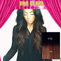 Double Drawn / Ombre / Clip In Hair Extensions / Black to Chocolate Brown / 22""