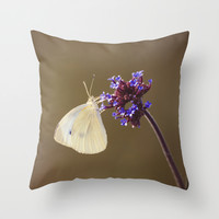 Flower with Butterfly Throw Pillow by Cinema4design
