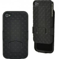 Aduro Shell Holster Combo Case for Apple iPhone 4, 4S, 4G with Kick-Stand (At&t, Verizon & Sprint) (Black)
