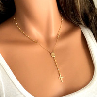 Gold Rosary Necklace Pyrite Gemstone 14kt Goldfilled  Inspired by Yolanda Foster Miraculous Medal - Religious Jewelry Christian Catholic