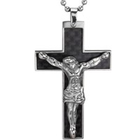Black Carbon Fiber Crucifix Cross with Jesus Christ Stainless Steel Pendant Necklace