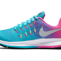 NIKE fashion casual breathable running shoes Blue rose red