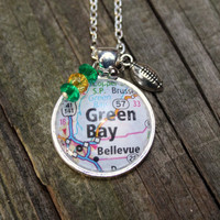 Green Bay Packers necklace, map of Green Bay under glass pendant with a football charm, green and gold beads, Packer necklace, NFL
