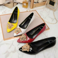 Versace Fashion new women pointed high heels shoes women White