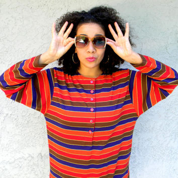 Vintage 80s Long Sleeve Tee, Women's Long Sleeved T-Shirt w Classic 1980s Stripes in Dark Plum, Orange, Red, Brown, and Gold, Size 14 16 XL