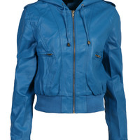 LE3NO Womens Edgy Faux Leather Zip Up Bomber Jacket with Hood (CLEARANCE)