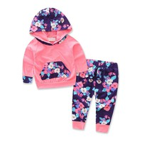 Baby girls Jacket Autumn clothes set Toddler Baby Girl Floral Splice Hoodie Tops+Pants Infant Outfits baby Clothes drop ship