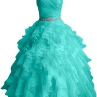 Sunvary Fashion Sweetheart Ball Gown Organza Prom Dress Pageant Quinceanera Dress - US Size 6- Turquoise