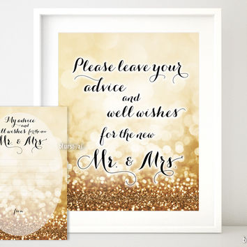 Please leave your advice and well wishes for the new Mr & Mrs in gold glitter