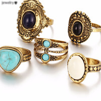 5 Pcs/Set Antique Gold /Silver Bohemian Midi Ring Set Vintage Steampunk Anillos Knuckle Rings For Women Boho Jewelry