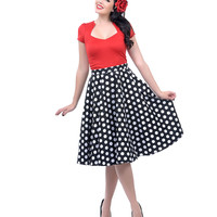1950s Style Black & White Dotted Mariam Swing Skirt
