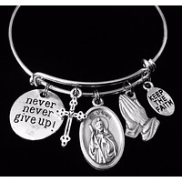 Saint Jude Charm Bracelet for Her Expandable Adjustable One Size Fits All Catholic Medal Inspirational Gift