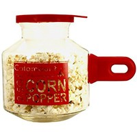 Catamount Glassware CGS4526R Glass Microwave Corn Popper with Silicone Handle, 2.5-Quart, Classic Red