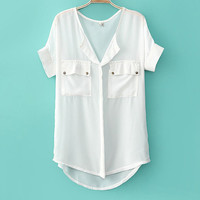 Casual Candy Color Chiffon Shirts for Summer