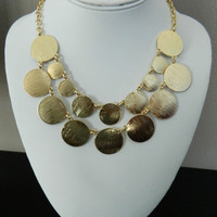 Brushed Metal Statement Necklace