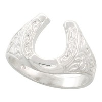 Sterling Silver Horseshoe Ring Polished finish 1/2 inch wide, sizes 6 - 9