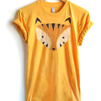 Geo Tiger - Hand STENCILED Crew Neck Pinned Rolled Cuffs Womens Tee in Heather Gold - S M L XL 2XL 3XL