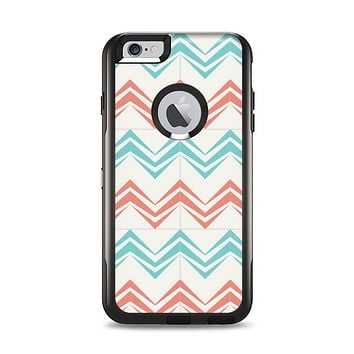 The Vintage Coral & Teal Abstract Chevron Pattern Apple iPhone 6 Plus Otterbox Commuter Case Skin Set