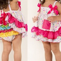 Hot Pink Rainbow Polka Dot Ruffled Diaper Cover with Baby Swing Top