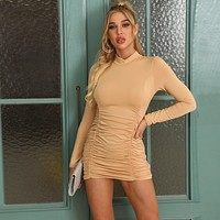 fhotwinter19 hot sale sexy long sleeve slim pleated dress women