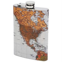 Maxam 8oz Stainless Steel Flask With Antique World Map- M