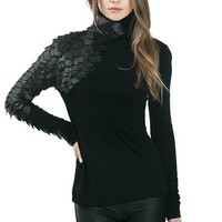 Turtleneck With Faux Leather