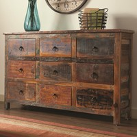 Reclaimed wood finish 9 drawer hall chest dresser transitional style with 9 drawers