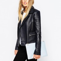 Whistles Juno Quilted Leather Biker