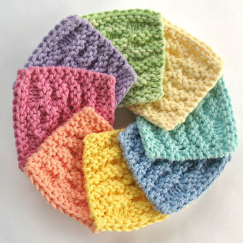 Face Scrubbies Facial Cotton Pad Reusable Wash Cloth Mini Knitted Washcloth Soft Spring Pastel Rainbow Bathroom Knit Square Bath Gift Set