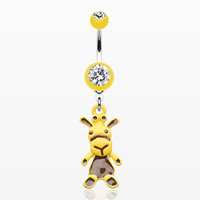 zzz-Yellow Cow Belly Button Ring